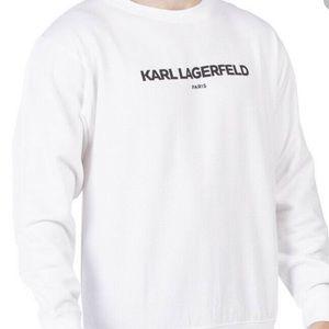 Karl Lagerfeld Mens White Crewneck Sweater